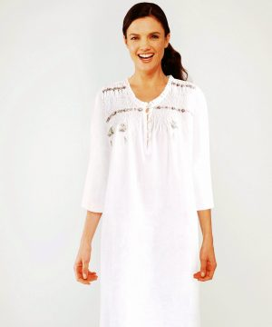 Luxury cotton nightie, Lola 3/4 sleeves. Luxury cotton nightie for women.