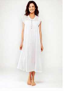 Women's classic cotton sleepwear Caroline cap sleeves white embroidery