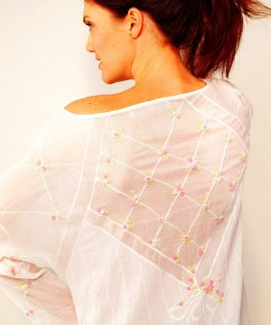 Luxury cotton sleepwear Rose Trellis. Luxury cotton nightwear.