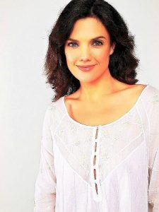 Rose Trellis, 3/4 sleeves, white hand embroidery, heirloom sleepwear for women.