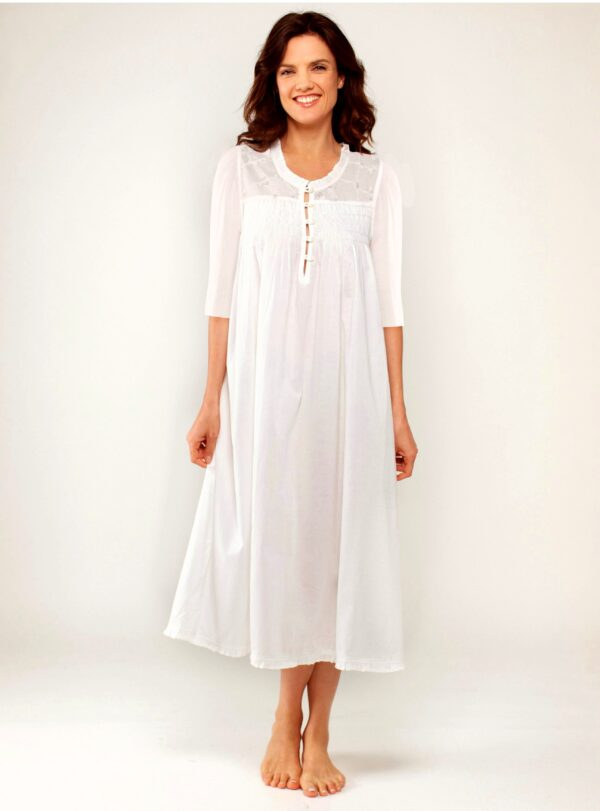 :Plus size Caroline 3/4 sleeves pale blue hand embroidery