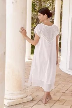 Women's luxury cotton sleepwear Flowers and dragonfly