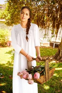 Luxury cotton nightgown Lola. Luxury cotton sleepwear for women.