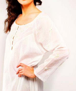 Rose Trellis 3/4 sleeves white hand embroidery 3/4 sleeves, fine cotton sleepwear