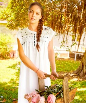 Bouquet of flowers. Luxury cotton nightgown.
