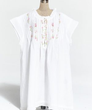 Girl's cotton nightgown Enfant Ribbons of flowers. Girl's cotton sleepwear.