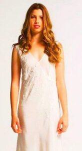 Scarlet silk nightgown