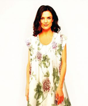 Pin tucked cotton nightie 3/4 sleeves Sunday Rose
