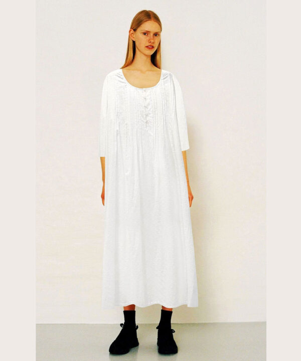 White-Swiss-Dot-cotton-nightgown-Snowbell-with-3-4-sleeves.
