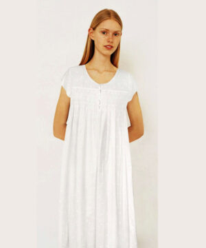 Luxury-cotton-sleepwear-Swiss-Dot-Dewdrop-cap-sleeves