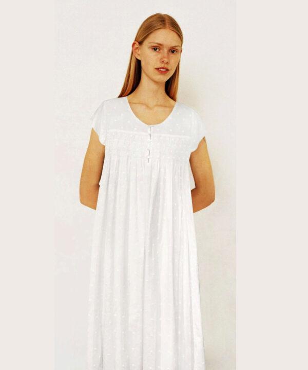 Luxury-cotton-sleepwear-Swiss-Dot-Dewdrop-cap-sleeves