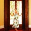 Peony Scarlet luxury silk nightgown